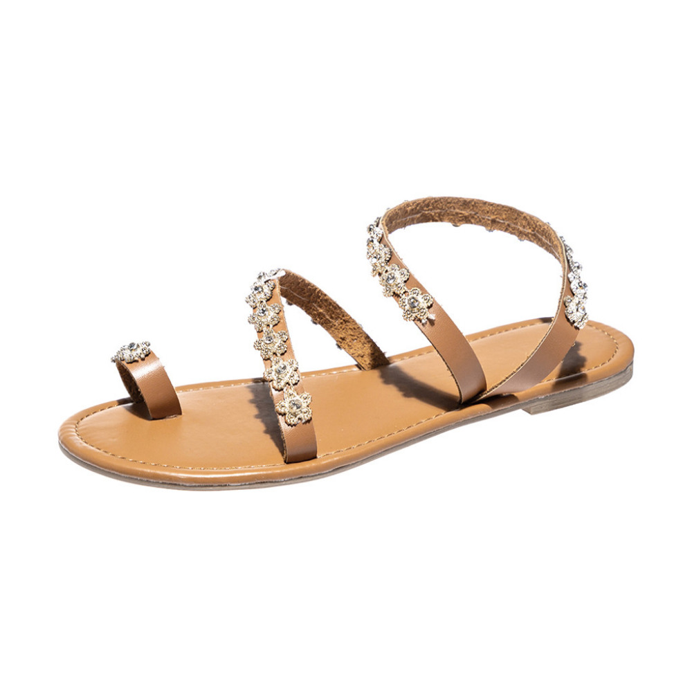 Womens Solid Flat Crystal Beach Sandals Ladies Summer Roman Slip-On Slippers Comfortable soft bottom Clip Toe Women Sandals NewWomens Solid Flat Crystal Beach Sandals Ladies Summer Roman Slip-On Slippers Comfortable soft bottom Clip Toe Women Sandals New