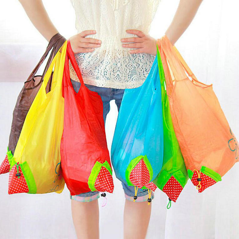 Hot Eco Storage Handbag Strawberry Grapes Pineapple Foldable Shopping Bags Reusable Folding Grocery Nylon Large Bag Random Color folding reusable shopping bag portable eco multi function pouch travel durable home storage handbag accessories supplies product