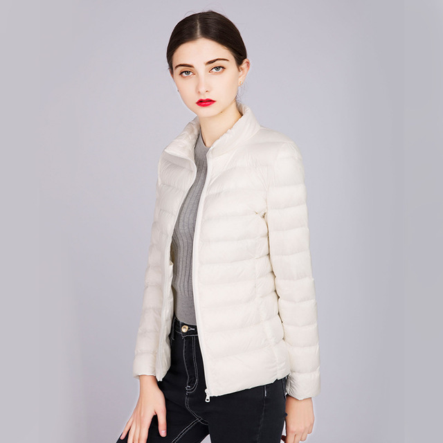 2019 Fashion Women white duck   Down     Coats   Short solid slim as a gift