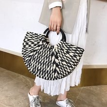 Fashion Women Bags Designer Hand Woven Straw Bag Stitching Clutch Bali Seaside Holiday Moon Bag Beach Bag Travel Handbag fashion women s clutch bag with engraving and stitching design