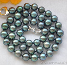 FREE SHIPPING 10-11mm ROUND peacock BLACK FRESHWATER PEARL NECKLACE 18inch