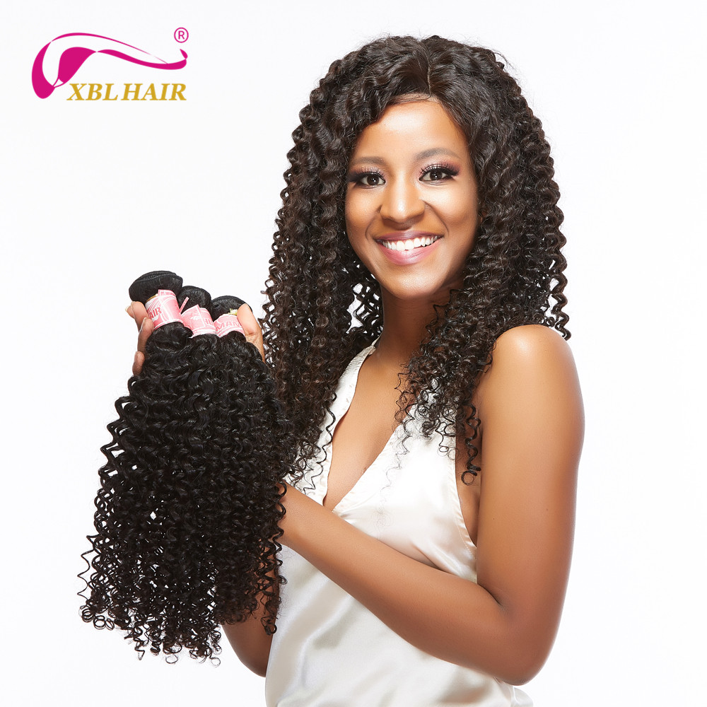 XBL HAIR Malaysian Curly Hair Weave Bundles 3 Bundles Remy Human Hair Extensions Natural Color Free Shipping