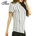 Tlzc 5xl! Senhora do escritório de Moda Tarja Camisas & Tops Black White 2017 Plus Size Verão Magro Chiffon Mulheres Blusas