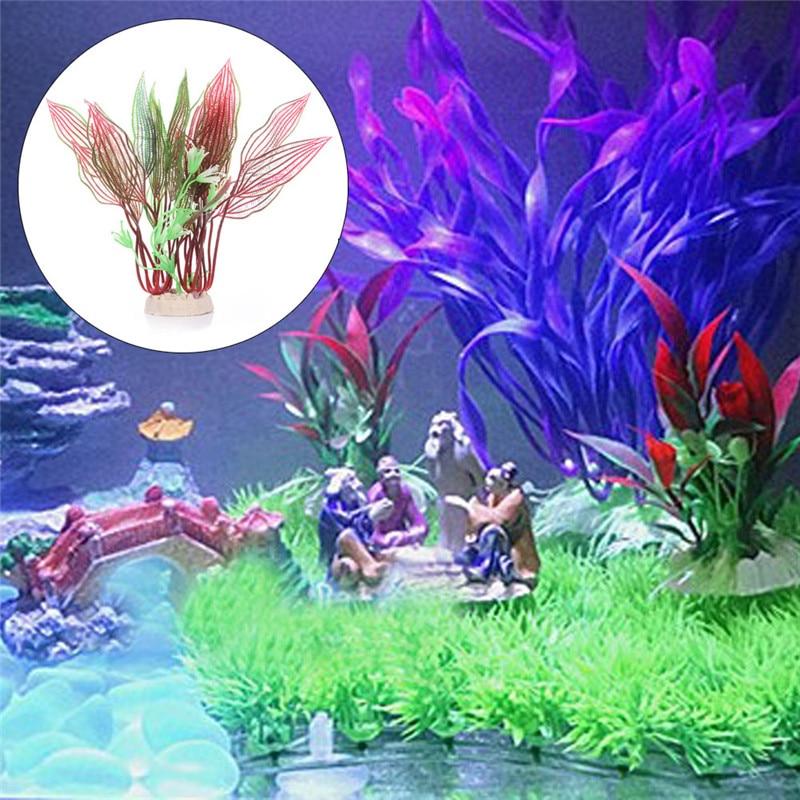 ⃝Plantas de agua artificiales red GRID hierba acuario decoración ...