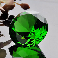 Green Crafts Souvenir Gift Diamond Crystal Home Decoration 40mm Beautiful Decor Paperweight Feng Shui