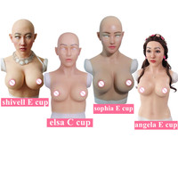 C E Cup Huge Artificial Boobs Silicone Breast Forms With Fake Face For Crossdresser transvestism Transgender shemale Dragequeen