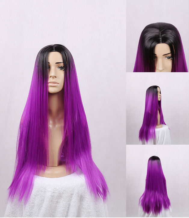 Fashion Ombre Straight Synthetic Lace Front Wig Glueless Long Two Tone Color Black Purple Heat Resistant Hair Wigs Women - 2014 leisure clothes store