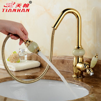 The European natural jade copper rose gold pull type faucet bathroom basin single hole basin faucet
