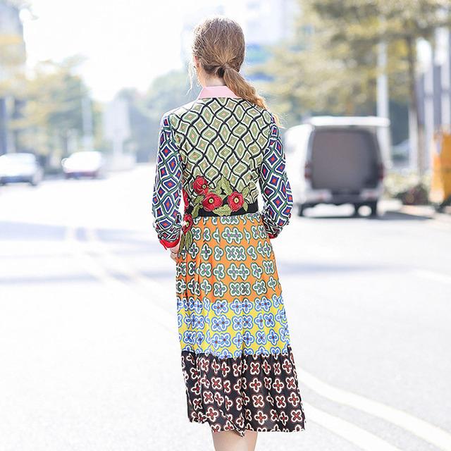 Geometric Print Embroidery Casual Dress
