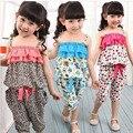 НОВЫЙ Лета Детей Одежда Устанавливает Девушки Спагетти Ремень leopard Топ Twinset Вскользь Кальсоны Для 2-10 Лет Богемия Beach Set