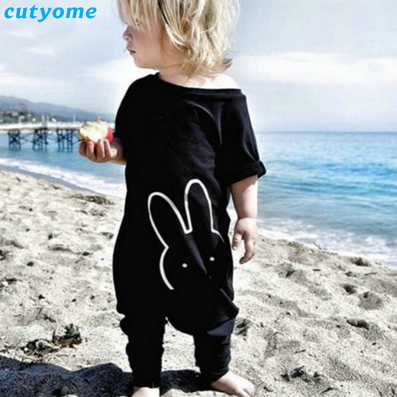 Cutyome 2017 Summer/spring Baby Boys Rabbit Rompers Infant Girls Jumpsuits Black Short Sleeve Newborn Baby Pajamas Clothes 100% cotton ropa bebe baby girl rompers newborn 2017 new baby boys clothing summer short sleeve baby boys jumpsuits dq2901