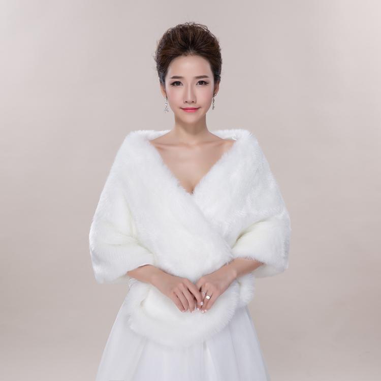 luxe veste de mariage blanc fourrure bolro en fausse fourrure de mariage wrap de marie blanche - Bolero Mariage Blanc