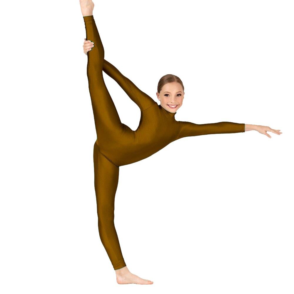 Child Lycra Spandex Long Sleeve Unitards Full Body Unitard Jumpsuits Turtleneck Zentai Dance Wear Costumes For Performance