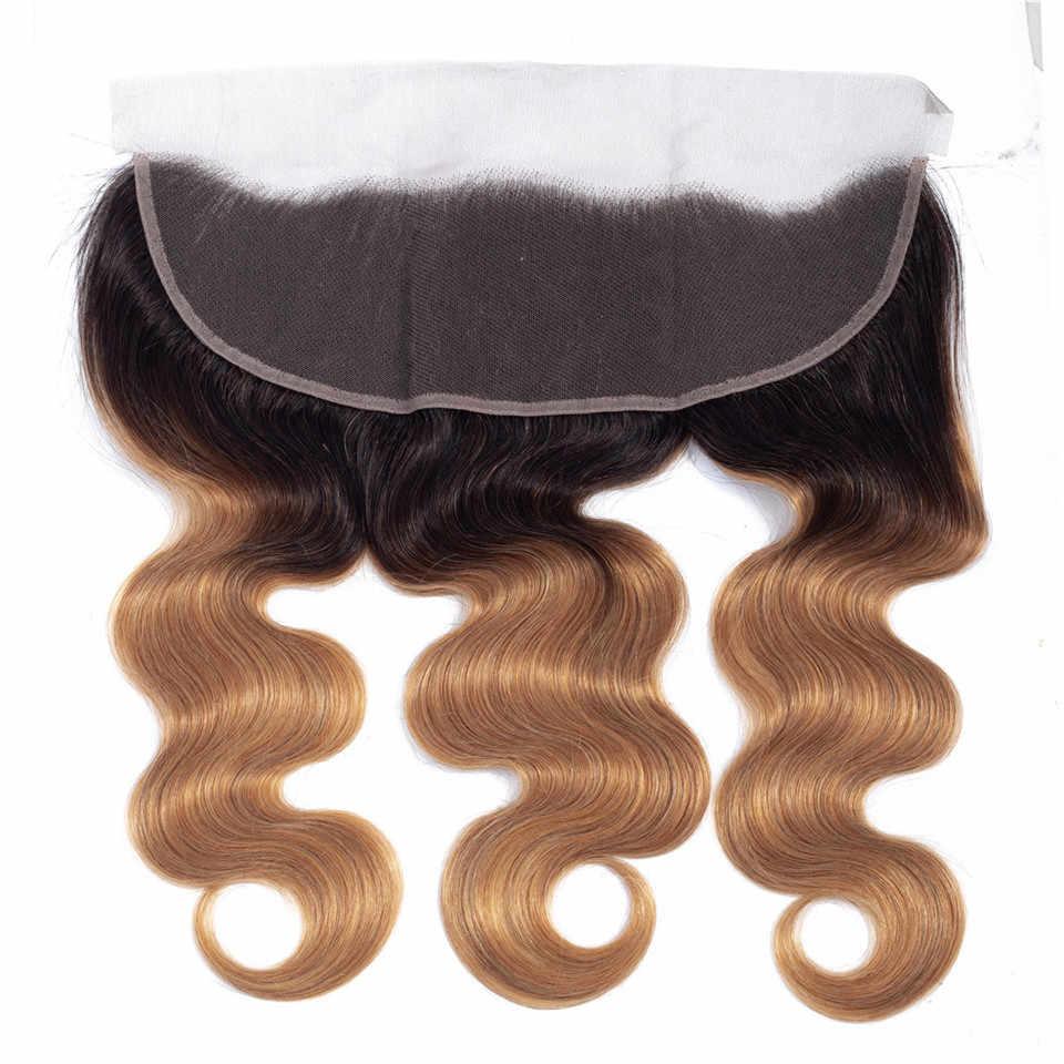 Queena 1b 27 pacotes ombre com fechamento frontal malaio cabelo onda do corpo pacotes com frontal mel loira pacotes com frontal