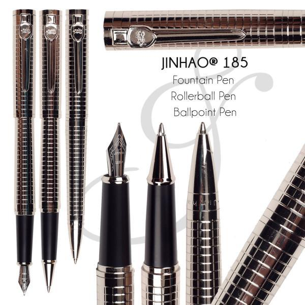 Silver Pen set  Fountain Pen M Nib 18kgp Rollerball Pen Ballpoint pen  Standard office and school stationery  FREE SHIPPING 8pcs lot wholesale fountain pen black m 14 k solid gold nib or rollerball pen picasso 89 big executive stationery free shipping