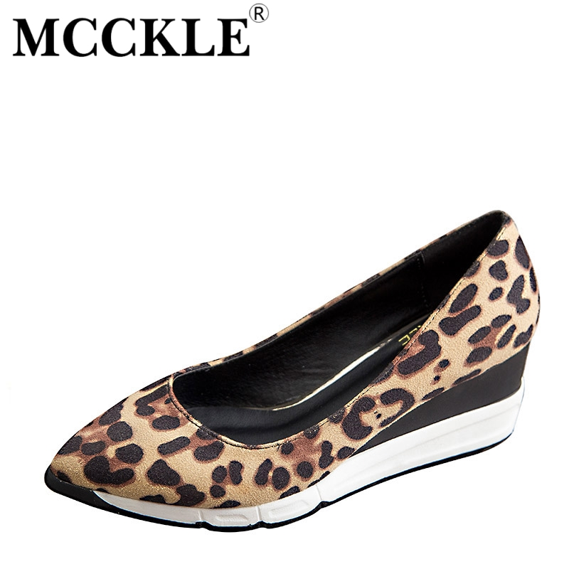 MCCKLE 2017 New Fashion Women Shoes Woman Pointed Toe Leopard Wedges Hot Sale Sexy Ladies Pumps Comfortable Casual Black mcckle 2017 fashion woman shoes flat women platform round toe lace up ladies office black casual comfortable spring