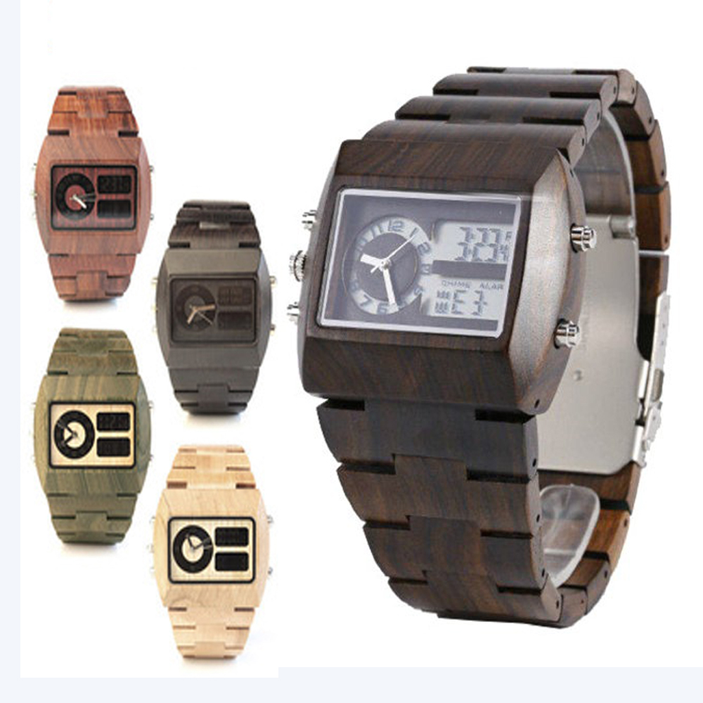 Brand Male Date Natural Wooden Watches Men Antique LED Wood Watch Luxury Casual Quartz Wristwatch Resistant relogio masculino brand light wood watch for men luxury natural bamboo wooden mens watches gifts japan quartz movt watch male relogio masculino