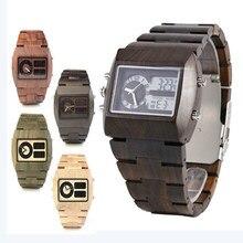 10e6950f9cb1 Marca hombre fecha natural de madera relojes hombres LED antiguo reloj de  madera del cuarzo reloj