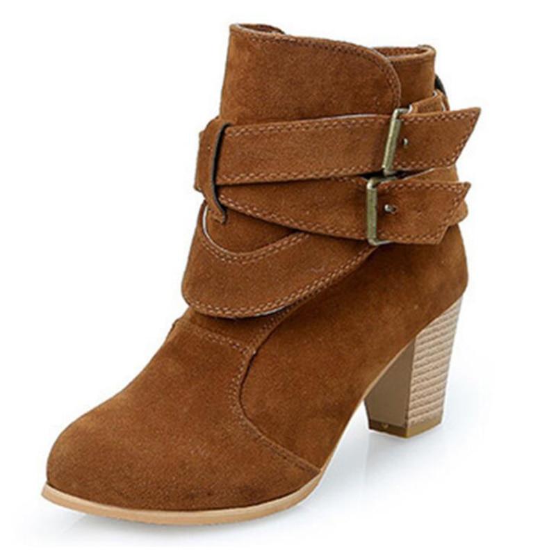 Covoyyar Negro Wbs953 42 Mujeres Doble Cruz Tobillo Zapatos Mujer Botas 35 2019 amarillo Atado khaki Talón De Hebilla Tamaño Rebaño rAaqT4rg