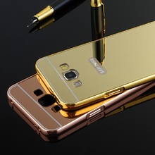 J5/J7 Gold plated Aluminum Metal Frame And Mirror PC Back Cover Case For Samsung Galaxy J5 J500 / J7 J700 Cell Phone Bag Cases