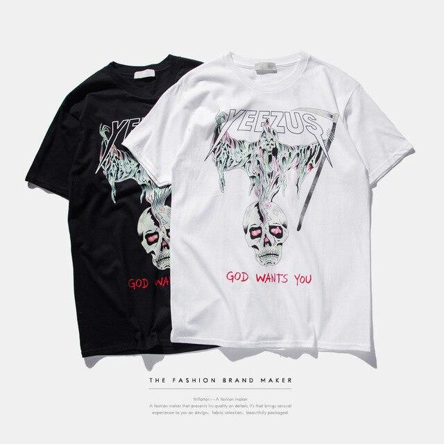 S-3XL 2016 tide Brand  American stamp sickle death skull t-shirt men ,kanye west