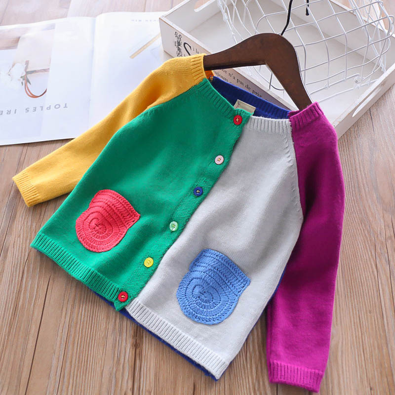 Girls Cute Cardigan Spring Baby Sweater Patchwork Mix Color Pockets Kids Knitted Children