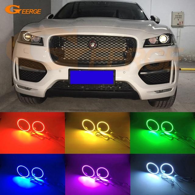 For Jaguar F-Pace 2016 2017 xenon LED headlight Excellent Angel Eyes Multi-Color & For Jaguar F Pace 2016 2017 xenon LED headlight Excellent Angel Eyes ...