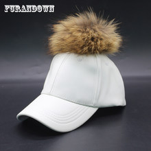2a2833002d76f Big Real Raccoon Fur Hat Hip Hop Leather Baseball Cap Leather Snapback Fur  Pom Pom Hat