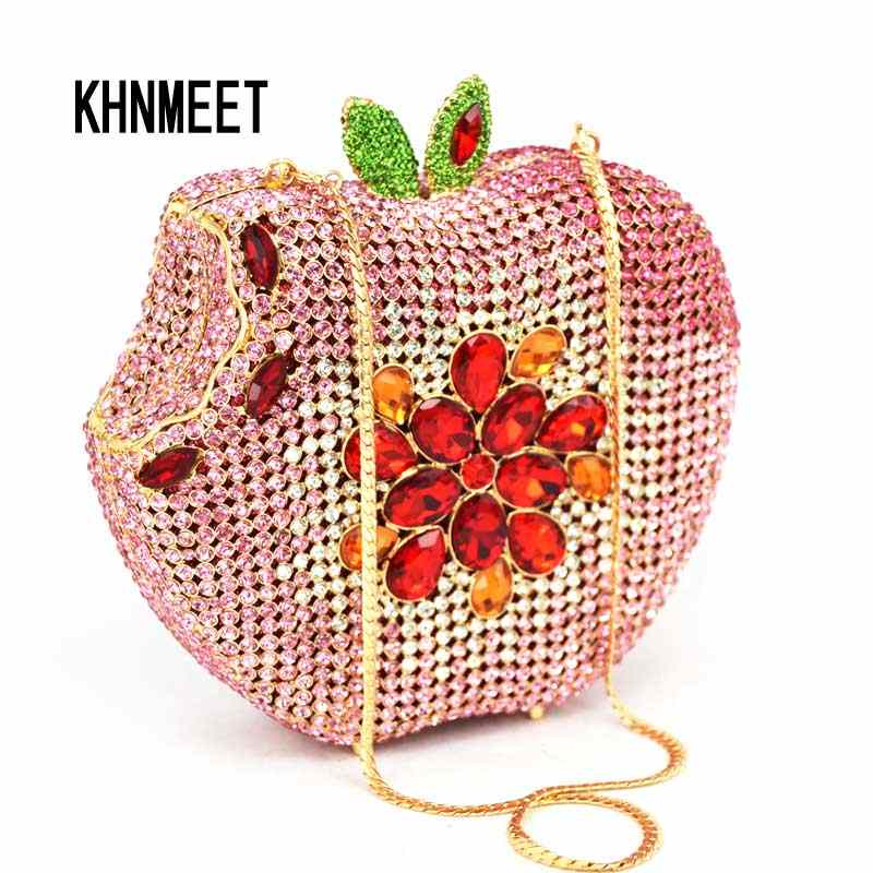Merah muda Apple Bentuk Tas Pesta Clutch Wanita Evening Purse Berlian Kristal Pernikahan Mewah Buah Fashion Wanita Purse Handbag SC146-B