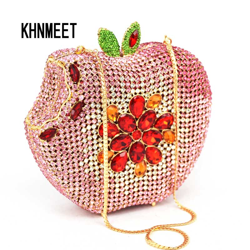 Pink Apple Shape Evening Purse Diamond Crystal Party Clutch Women Wedding Luxury Bag Fruit Fashion Ladies Purse Handbag SC146-B boutique charm full of high quality diamond fashion party mini purse clutch evening bag ladies handbag shoulder bag wallet 88631