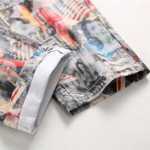 Image 5 - Sokotoo ผู้ชายภาษาอังกฤษธงความงามสาว 3D พิมพ์กางเกงยีนส์ Slim fit สีทาสียืดกางเกง