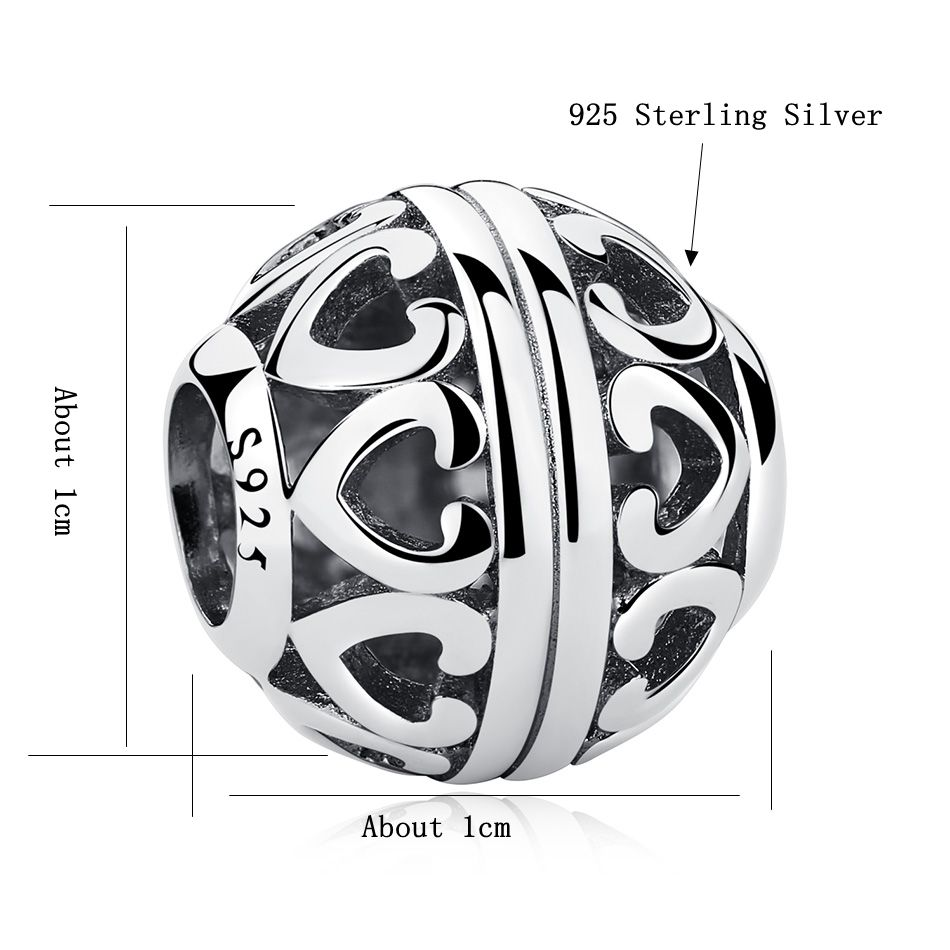 ELESHE New Fashion 925 Sterling Silver Round Openwork Heart Bead Charms Fit Original Pandora Bracelets DIY Authentic Jewelry in Beads from Jewelry Accessories