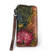 c030f3987ae95 Vintage Kadınlar Bileklik Debriyaj Cüzdan kadın Uzun Fermuar cep telefonu  Cüzdan Bayanlar çanta Çiçek Oyulmuş Hakiki Inek Deri