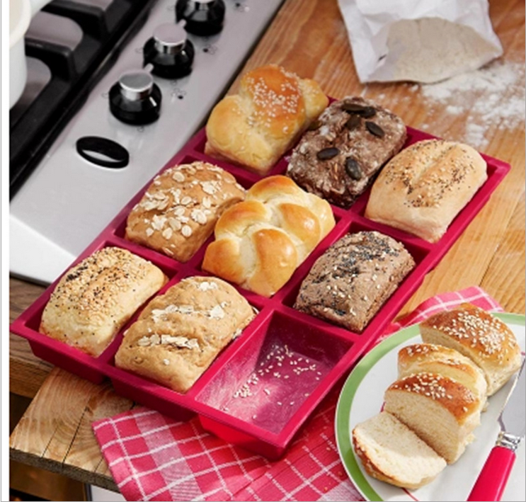 Silicone 9 Holes Bread Baking Pan Mould Tray Chocolate Cake Mould Dough Pastry Shaper Kitchen Bakery DIY Baking Gadgets Helper