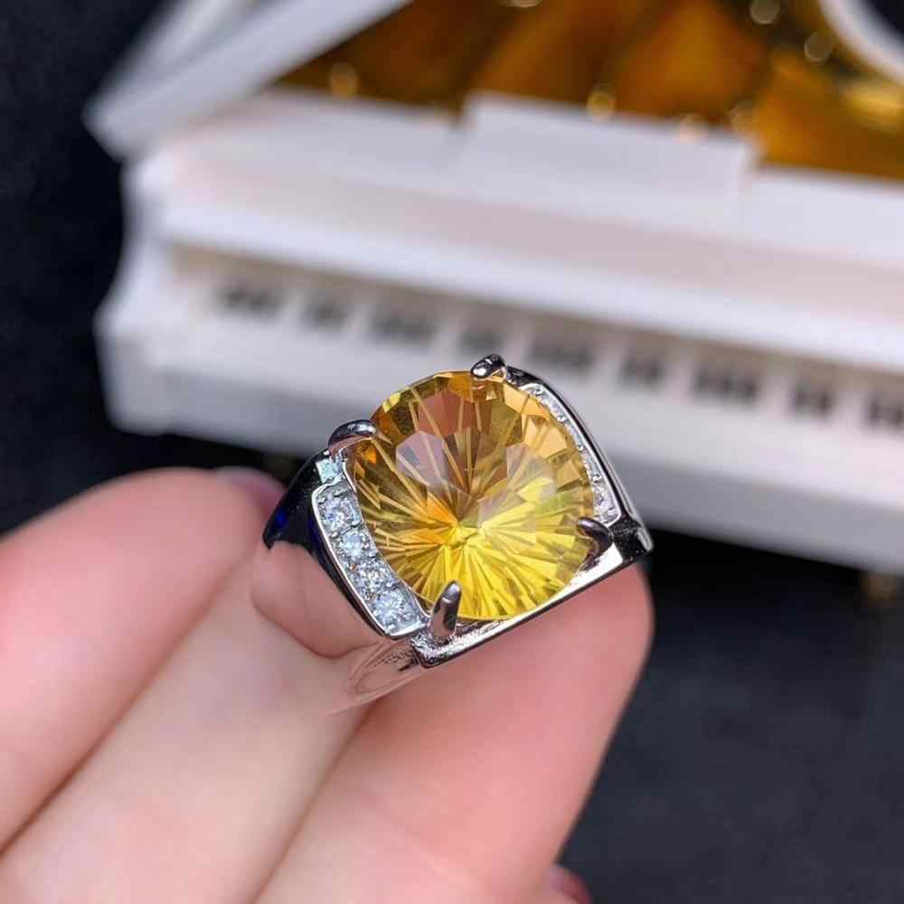 Citrine ธรรมชาติ 100% แหวนผู้ชายแฟชั่น Bright โรงงานเครื่องประดับโดยตรงขายดีตัดวันเกิดครบรอบของขวัญ