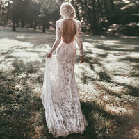 Robe De Mariage 2018 Long Sleeves Wedding Dresses Boho High Neck Exquisite Lace Backless Chic Wedding Dress Bridal Gowns