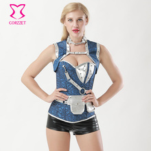 Corzzet Blue Jacquard Steampunk Corselet Gothic Clothing Waist Trainer Lingerie Slimming Party Corsets And Bustiers