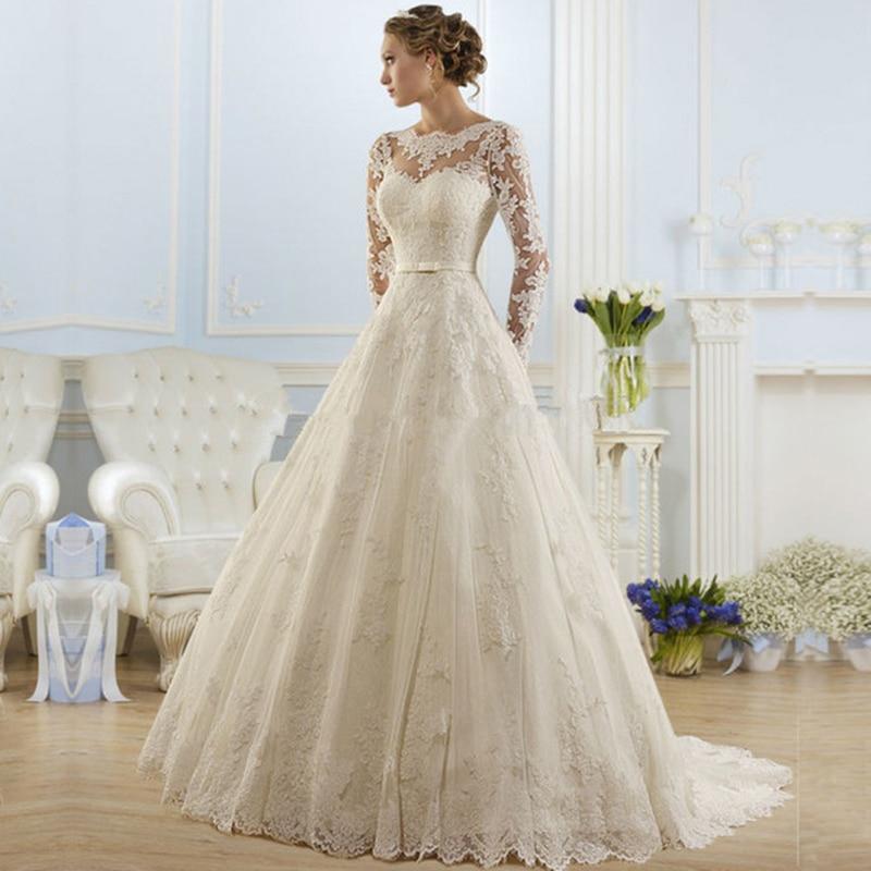 yiwumensa Real Photo Long Sleeves Wedding Dress 2018 Vestidos de Novia Lace A Line Vintage Wedding