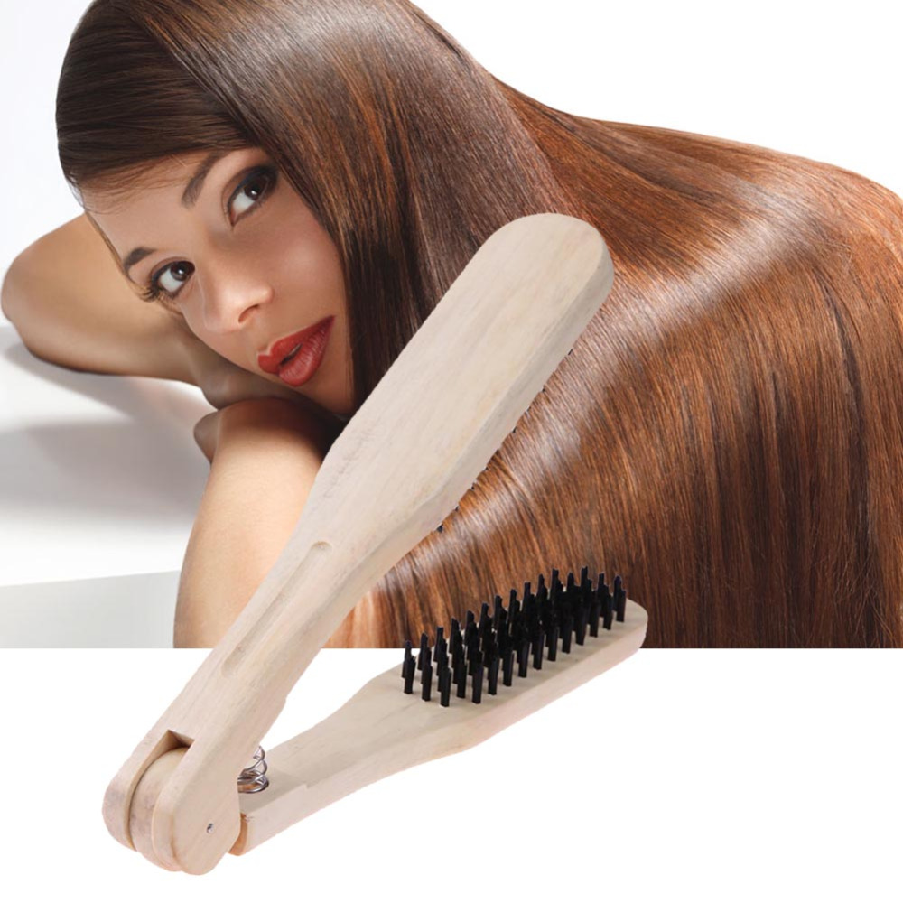 Professional Wooden Hairdressing Comb Double Brushes V Type Straight Hair Brush Anti-static Hair Straightener Tool Hairbrushes