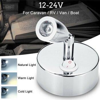 12V 1W Flexible LED Spot Reading Light RV Caravan Camper Boat Wall Bedside Lamp