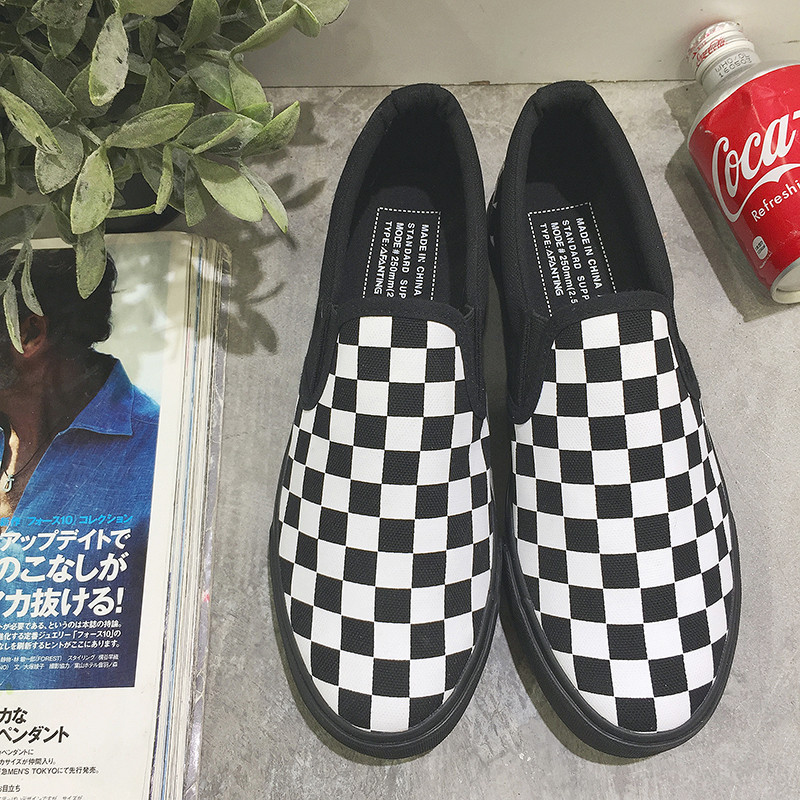 Classic Fashion canvas shoes Black White Plaid Men Loafers Casual Men - Men's Shoes - Photo 5