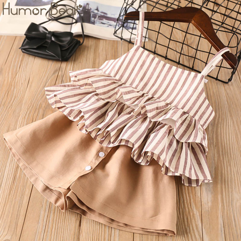 Humor Bear Girls Clothing Sets 2019 Brand New Summer Kids Clothes Striped Suspender Skirt + Culottes 2PCS Suit Children Clothes