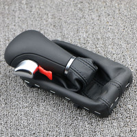 Shift Knob Gaitor Boot Cover Leather Leather Gaiter Boot Gray Black AT LHD Only For Audi A3 A6 S6 Q7 2005 2012