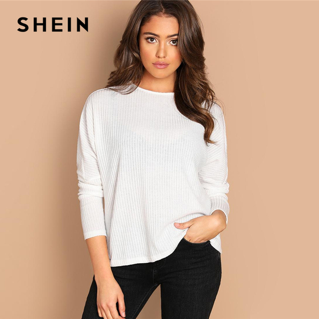 d3a6bc6dc6 SHEIN White Solid Rib-Knit Tee Plain Minimalist Round Neck Long Sleeve  Stretchy Casual 2019 Spring Elegant Women T-shirt Tops