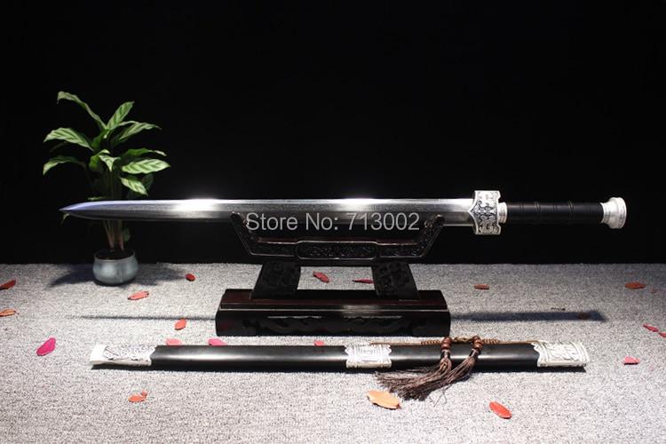 100% Waar Super Handgemaakte Wushu Zwaard Chinese Kungfu Zwaard Damascus Staal Graan Blade Volledige Tang Sterke