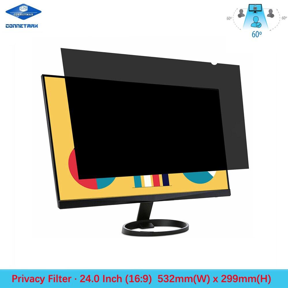 Filme protetor de tela de filtro de privacidade de 24 polegadas para monitores de mesa widescreen relação 16:9