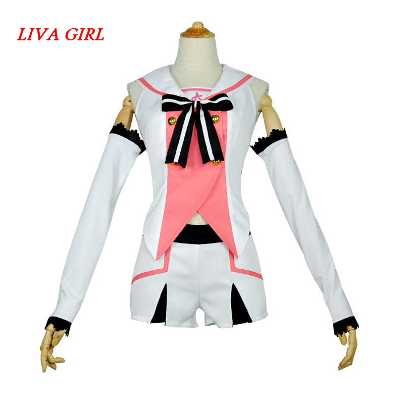 Virtual Youtuber A.I.Channel Kizuna AI Cosplay Costume Super AI Role Play Full Set Sailor Suit Tops Shorts
