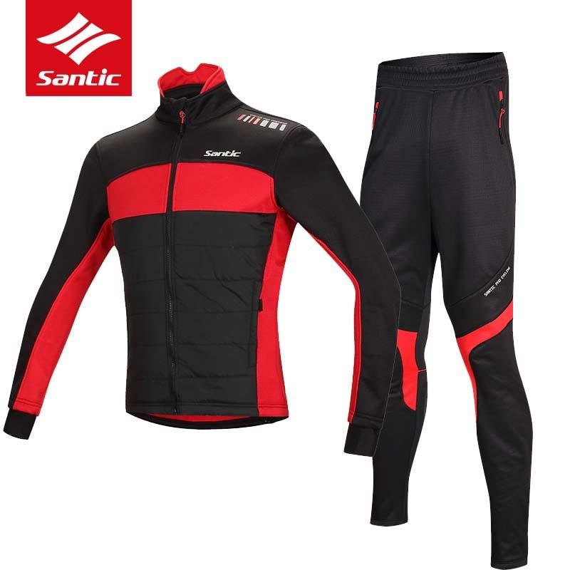 Сантич зима флис Велоспорт Джерси установить с 2017 мужчины Pro команда велосипед Джерси Ветрозащитный теплый велосипед Джерси Велоспорт одежда М-4xl