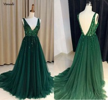 Dark Green Sexy Prom Dresses 2018 Deep V Neck Backless Crystals A Line Long Real Photos Party Gowns Vestidos De Fiesta