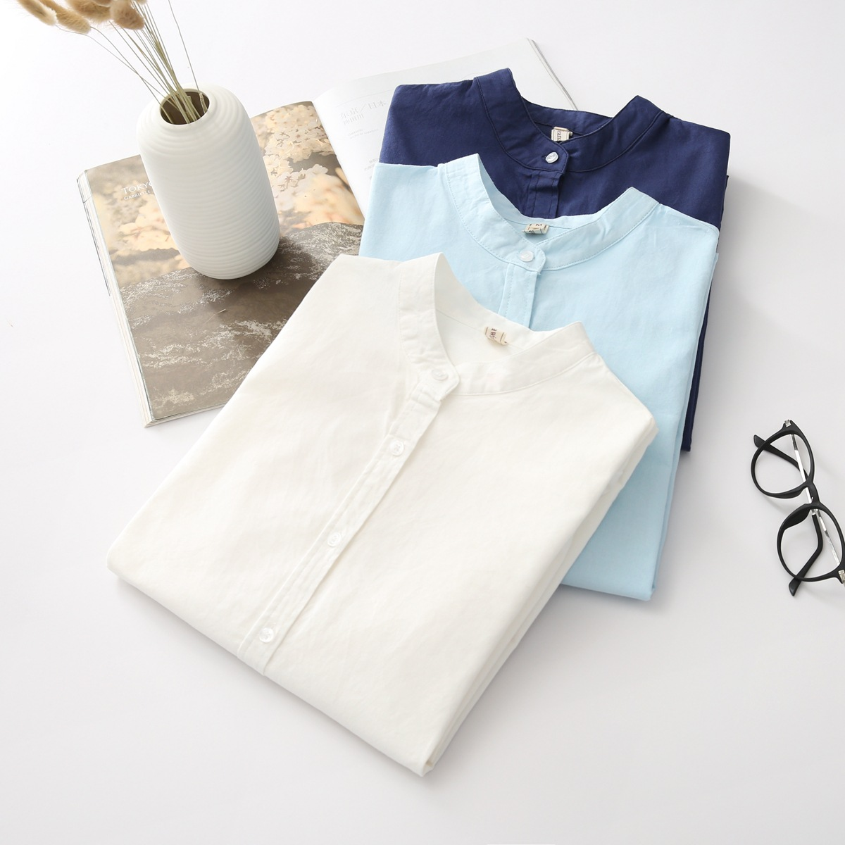 EYM 2019 Brand New Arrival Women's Shirt Casual Cotton Stand Collar Solid Color White Long Sleeve Blouses Simple Style Lady Tops